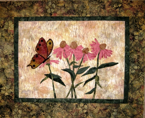 quilts and wall hanging, landscape flowers and animals